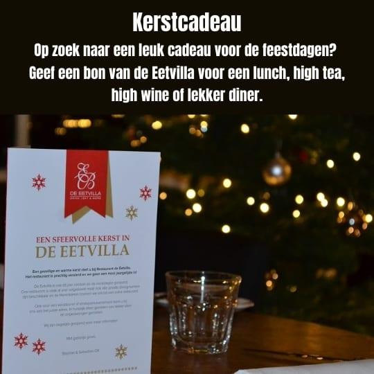 Op zoek naar een leuk en lekker kerstcadeau? Haal een dinercadeau bij restaurant de Eetvilla