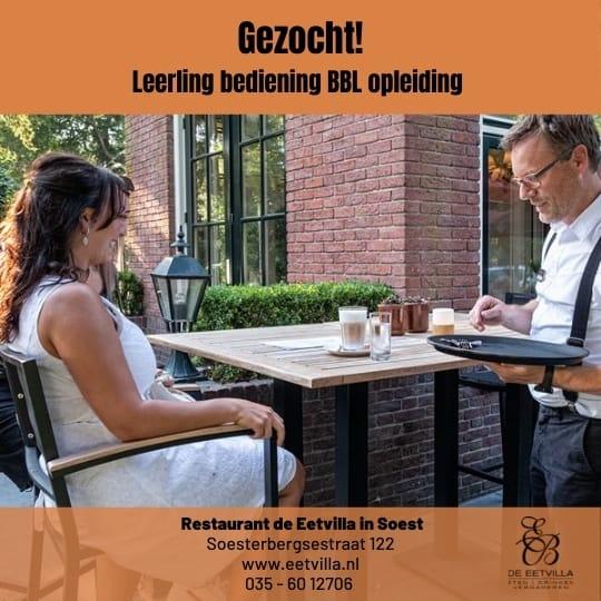 Wil je graag in de bediening en leren hoe wij gasten verwennen? Welkom bij restaurant de Eetvilla in Soest.